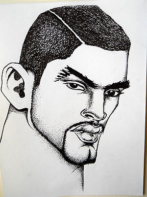 """Male Portrait Drawing...""""latino Dude""""......9 X 12 In....pen And Ink"""