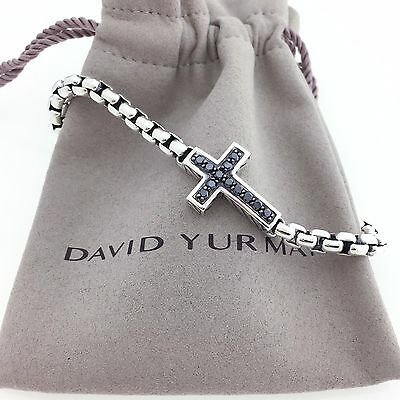 David Yurman Men's Pave Cross Bracelet Black Diamonds
