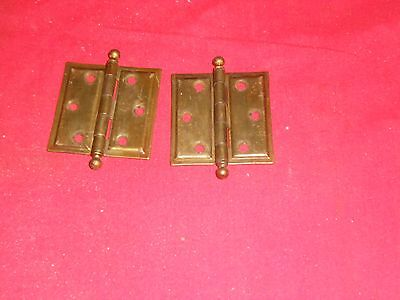 "2 Cabinet Door Hinges 2 "" X 2"" ball top pins  stanley  SW brass PLATED"