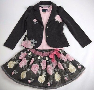 MONNALISA Grey Pink Jacket Skirt MINI BODEN Top Tights 4 Pc Outfit Set 5 6 Year