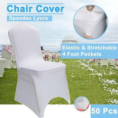 50 Pcs White Chair Covers Spandex Lycra Wedding Banquet Party Decor Arched Front