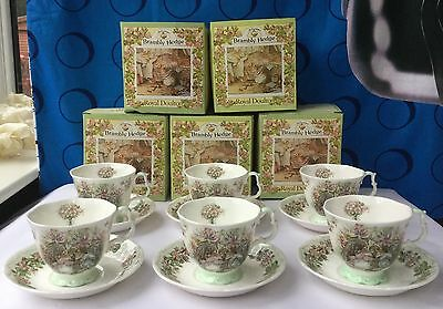 BRAMBLY HEDGE ROYAL DOULTON SUMMER 6 X CUP & SAUCER IN ORIGINAL BOX Unused