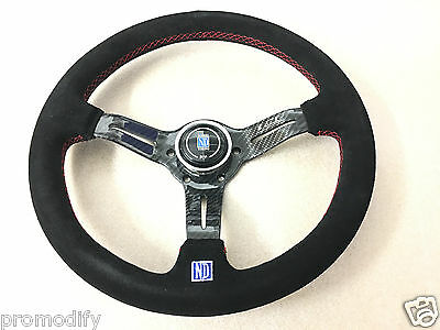 ND Style 350mm Suede Leather Low Dish Flat Carbon Fibre Spoke Steering Wheel
