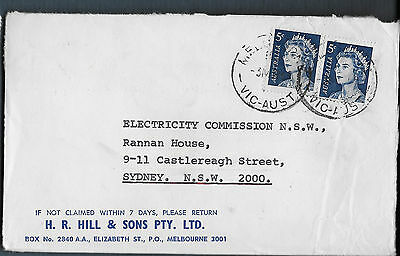 1969 2x 5c QEII HR Hill & sons advertising commercial cover Melbourne