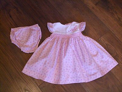 aged 3 - 6 months baby girls summer dress and matching knickers smock dress pink