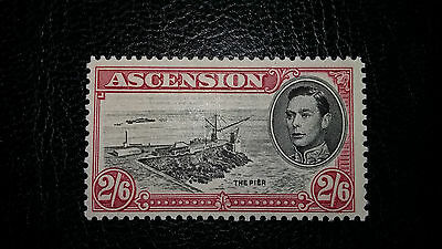 ASCENSION ISLAND KGVI King George VI SG45cb CUT MAST & RAILINGS VLMM RARE