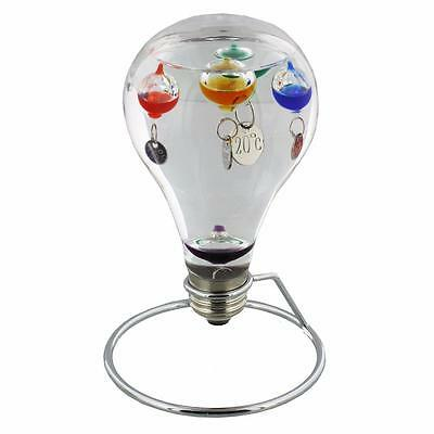 Large Light Bulb Design Galileo thermometer On Metal Stand 18 cm