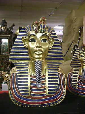 Museum  Gold Mask of Tutankhamun hand gold leafed and detailed.  Made in Egypt