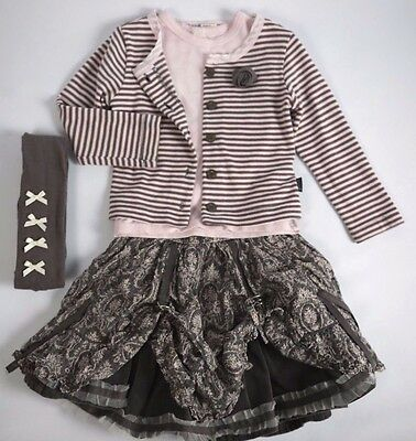 JOTTUM Pink Brown Mink Cardigan Skirt Top Tights 4 Pc Outfit Set 3 4 Years