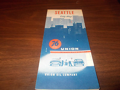 1954 Union 76 Seattle Vintage Road Map / Nice Cover Graphics