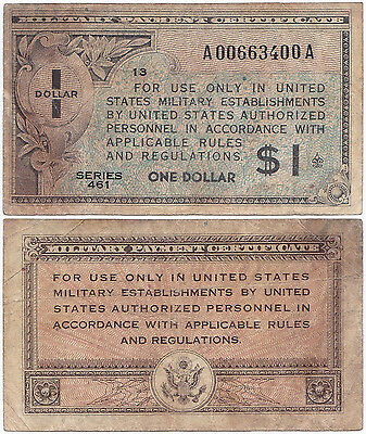 USA, 1 Dollar 1946, Pick M5a, F, Series 461, Military Payment Certificate