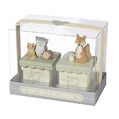 Baby's FIRST TOOTH FIRST CURL KEEPSAKE resin boxes Woodland Animals SHOWER GIFT