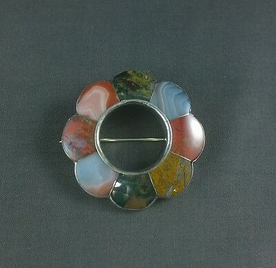 Antique Victorian Sterling Silver Brooch Scottish Agate Pin Pebble Jewelry Large