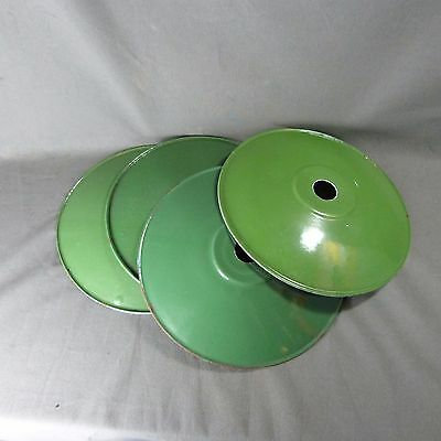 Antique French Set of 4 Porcelain Enamel Shades Green c.1940-50 Country classic