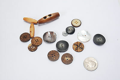 Vintage MIxed Lot of Buttons - Abalone Wood Shell - Natural Materials