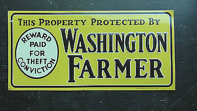 Fun VTG This Property Protected by Washington Farmer Insurance Embossed Tin Sign