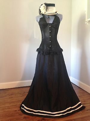 Victorian inspired burlesque costume; 3-pieces inc silk skirt, hat and corset