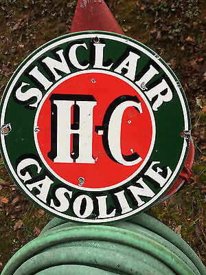 Used Vintage Sinclair HC H-C Gas Gasoline Oil Lube Porcelain Pump Plate Sign