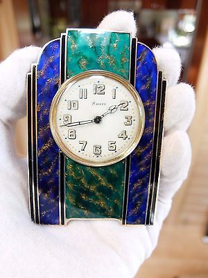 ANTIQUE STERLING SILVER, GUILLOCHE & ENAMEL CLOCK (Watch video)