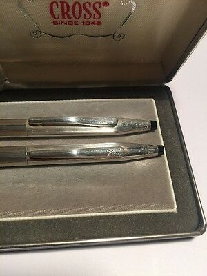 Vintage CROSS Solid Silver 925 Pen & Pencil Set Boxed With Paper Work
