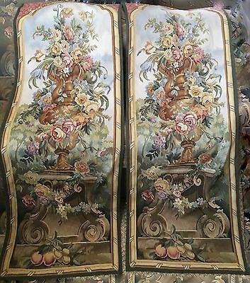 FRANCE 19TH CENTURY PAIR French Aubusson Wall Hanging Tapestry Textiles Over 6'
