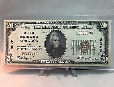 1929 $20 The First National Bank of Norwood Ohio #6322 (202)