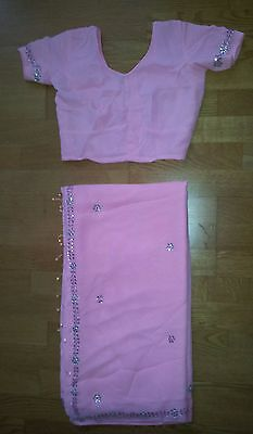 Baby Pink Indian sari saree Clear & Pink Gems blouse 6 8