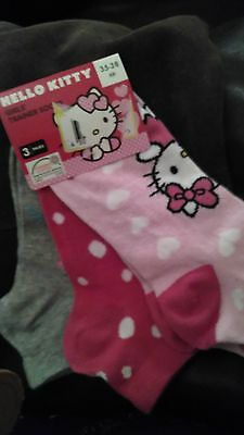 3 x trainer hello kitty socks girls euro 35 - 38 pink dots