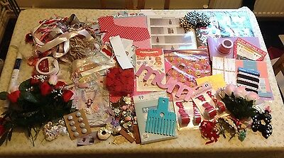 Massive Lot Of Craft Items Including Bow Maker,buttons,toppers,ribbon And More