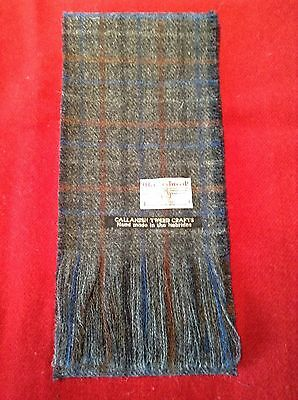 Grey scarf with blue and brown check. Harris Tweed 100% wool