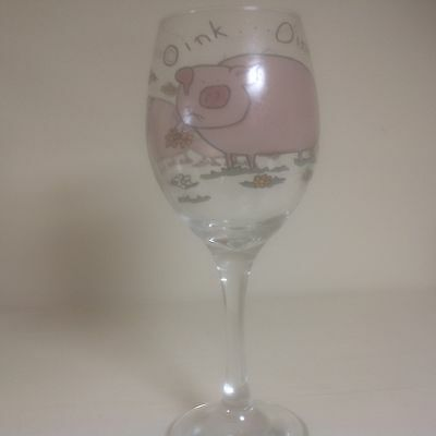 Pig  Large Wine Glass