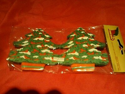 Vtg Paper Garland Red Cardinals Birds Snowy Christmas Tree Country 9 Ft New Prim