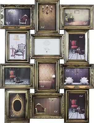 Shabby Chic Antique Champagne 12 Picture Wall Collage Multi Photo Frame