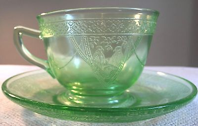Vintage Federal Depression Glass Georgian Lovebirds Cup And Saucer