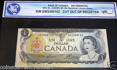CUT OUT OF REGISTER  Bank Of Canada 1973 $1