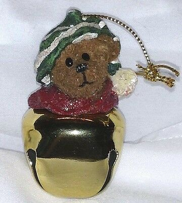 Boyds Bear Ornament with a Green Hat and a Gold Bell, Too Cute!