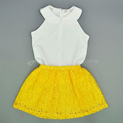 Kids Baby Girls Toddler T-shirt Tops + Skirt Dress 2PCS Set Outfits Clothes 4-5Y