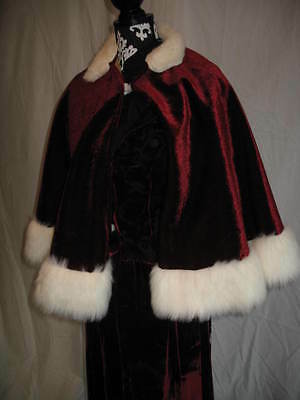 Holiday Christmas Caroler Dress Victorian Dickens Cape Burgindy White Outfit