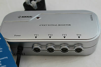 4 Way Aerial Booster  ~  with Digital Bypass ~ Nikkai L23AG