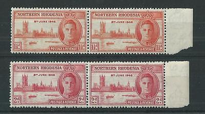 Northern Rhodesia 1946 Victory Pairs SG46a (Perf 13.5) + SG47 Mint Cat£28