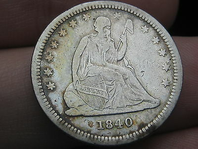 1840 P Seated Liberty Quarter WITH Drapery- VF/XF Details- Very Rare