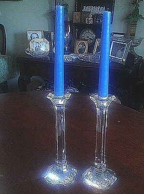 """Pair Of Lead Crystal Candlesticks 8.5"""" Flawless"""