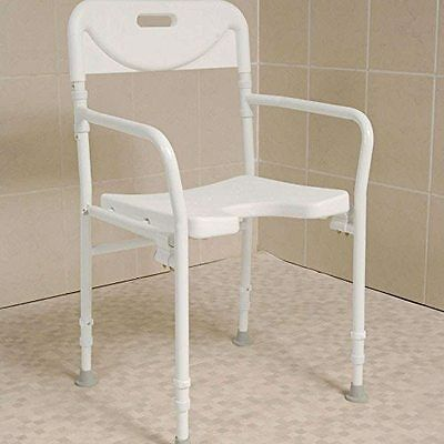 NRS Healthcare M00778 Shower Chair Height Adjustable with Back & Arms - FOLDING