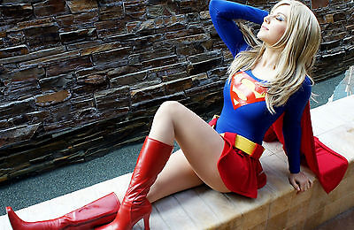 Framed Print - Beautiful Superwoman Sat on a Wall (Superman Picture Poster Art)
