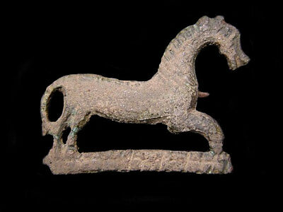 EXTREMELY RARE ROMAN BRONZE FIBULA in Shape of a HORSE+++