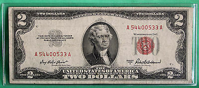 1953 A $2 Two Dollar Currency Paper Money Average Circulated Red Seal #0533