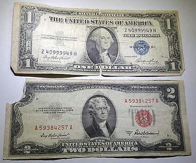 1953 U.S. Two Dollar Bill & US 1 Silver Certificate Antique Currency Collection