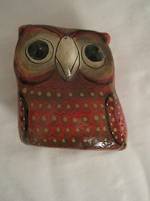 Paper Mache Decorated Owl Stands  4'' Tall Cute