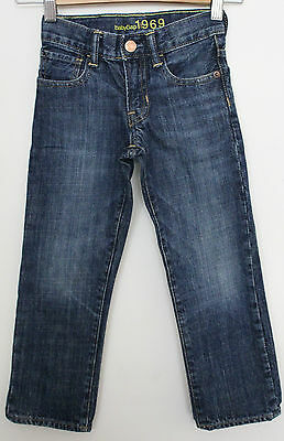 GAP 1969 ~ Unisex Medium Blue wash Denim Straight Leg Jeans w Copper Rivets ~ 5