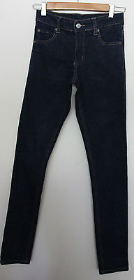 CHEAP MONDAY ~ Dark Blue Stretch Denim Skinny Leg Teen Unisex Jeans ~ 25""